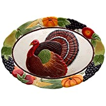 "CG 10713 18"" Large Thanksgiving Design Turkey with Fruit Serving Platter"