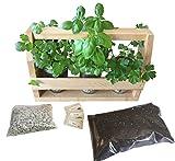 BackyardCedars Indoor Herb Garden Caddy and Kit (Natural)
