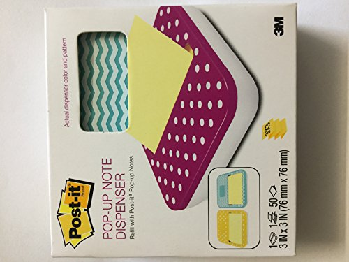 Post-It(R) Pop-Up Note Fashion Dispenser, Assorted Colors