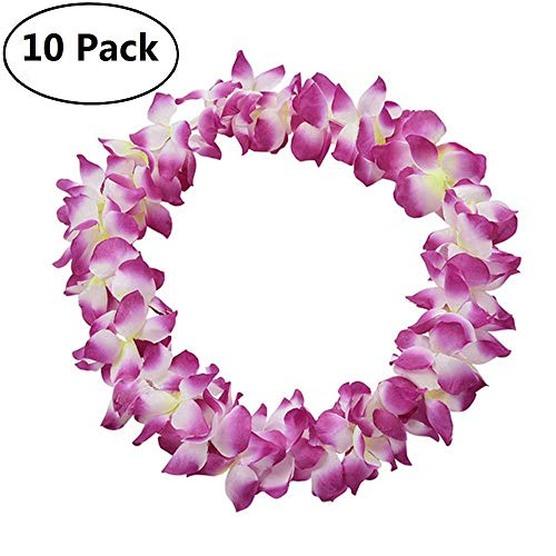 Genenic 10 Pack Hawaiian Artificial Flowers Leis Garland Necklace Fancy Dress Party Hawaii Beach Fun Flowers DIY Party Beach Decoration (Purple)