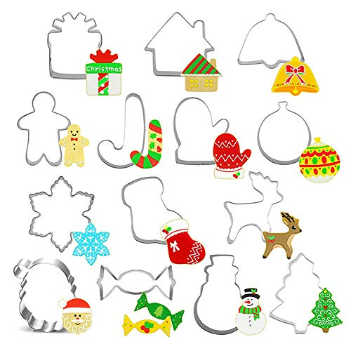 Christmas Cookie Cutter Set,Stainless Steel Biscuit Mould - Snowman, Christmas Tree, Gingerbread Man, Santa Face and Cane Candy - Shape Cookie Cutters (14 Piece)