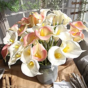 Yu2d  Artificial Fake Flowers Leaf Calla Lily Floral Wedding Bouquet Party Home Decor (Multicolor) 74