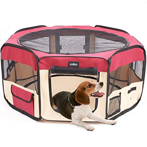 Houses & Habitats Pet Tent Portable Pet Fence Pet Eight-face Tent Folding Pet Game Fence Indoor Cat Production House Outdoor Mosquito Sun Protection Tent (Color : Red, Size : 433790cm)