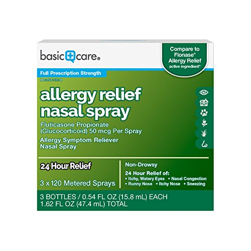 Basic Care Allergy Relief Nasal Spray, Fluticasone Propionate (Glucocorticoid) 50 mcg Per Spray, 3 Bottles - 120 Metered Sprays 0.54 FL OZ Each