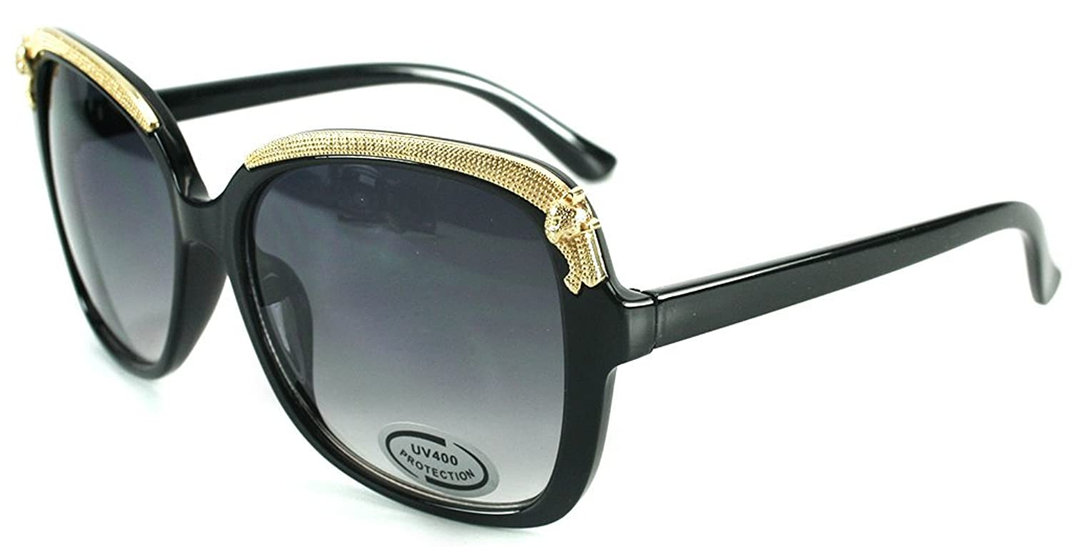 """Cheetah"" Oversized Fashion Sunglasses with Gold Brow Embellishment for Women"