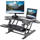 VIVO Black Electric Corner Standing Height Adjustable Cubicle Sit to Stand | 43'' Wide Tabletop Desk Riser (DESK-V000VCE)