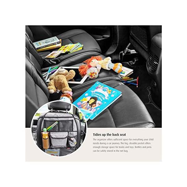 51yzyEU2i L reer Autorücksitz-Organizer TravelKid Tidy, schmutzabweisend, viele Taschen, für alle Autositze, auch Sportsitze, grau