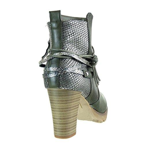 Angkorly - Scarpe da Moda Stivaletti - Scarponcini cavalier stile vintage zeppe donna pelle di serpente perforato tanga Tacco a blocco tacco alto 8 CM - Verde