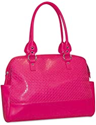 Femme Floral Ladies Computer Tote, Faux Leather, 17 x 3-1/2 x 12, Pink
