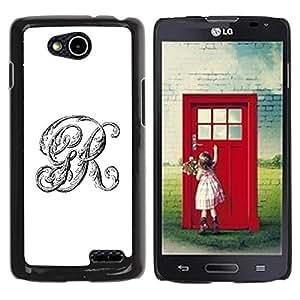 YOYOYO Smartphone Protección Defender Duro Negro Funda Imagen Diseño Carcasa Tapa Case Skin Cover Para LG OPTIMUS L90 D415 - r G iniciales letras de texto caligrafía blanca