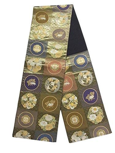 悪い間欠重要リサイクル 袋帯  伝統文様 花の丸文 正絹 六通