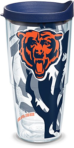 (Tervis 1290851 Nfl Chicago Bears Tumbler With Lid 24 oz Clear)