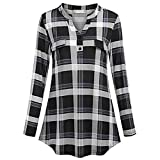 Wintialy Women's Split Button V Neck Long Sleve Casual Roll-up Plaid Tunic Blouses Tops