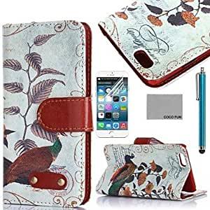 Bird Below Tree Pattern PU Leather Full Body Case for iPhone 6 6G 4.7 with Screen Protecter, Stand and Stylus