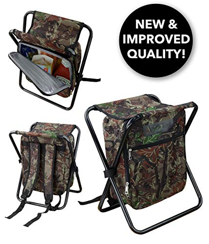 GigaTent Folding Cooler and Stool Backpack - Multifunction Collapsible Camping Seat and Insulated Ice Bag with Padded Shoulder Straps (Camo)