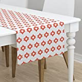 Table Runner - Coral Nursery Baby Native Tribal Southwest Chevron by Andrea Lauren - Cotton Sateen Table Runner 16 x 108