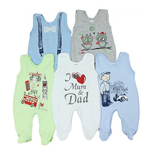 5er Pack Baby Strampler mit Aufdruck Spruch Mädchen Strampelanzug Jungen Babystrampler mit Fuß 100% Baumwolle , Farbe: Junge, Größe: 68