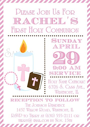 (Girls Personalized First Holy Communion Invitations)