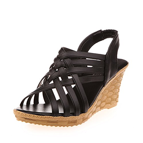 - Kauneus  Women Sandals Summer Checkered Belt Gladiator Sandal High Platforms Wedges Cut Outs Pattern Shoes Black