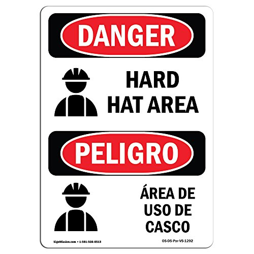 OSHA Danger Sign - Hard Hat Area Bilingual | Choose from: Aluminum, Rigid Plastic Or Vinyl Label Decal | Protect Your Business, Construction Site, Warehouse & Shop Area | Made in The USA by SignMission (Image #1)