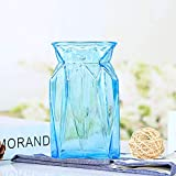 Blue Glass Vase for Home Decor Flower Vase for Wedding Decoration 3.9'x3.9'x7'Height (Blue)