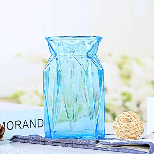 Blue Glass Vases (Blue Glass Vase for Home Decor Flower Vase for Wedding Decoration 3.9