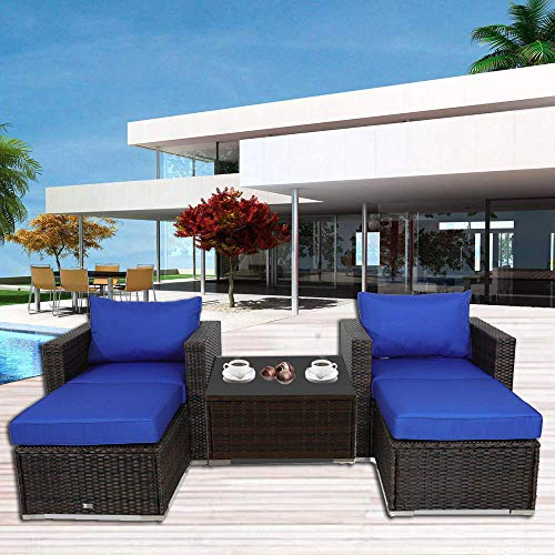 Garden Room Furniture - Outime Patio Furniture Sofa 5pcs Brown Rattan Wicker Couch Set Garden Sectional Home Furniture w/Coffee Table Royal Blue Cushion