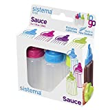 Sistema To Go Collection Sauce Squeeze Bottle, 1.1 oz./32.5 mL, Pink/Green/Blue, 3 Count