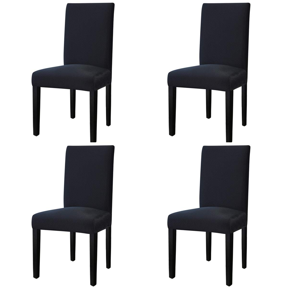 Easy-Going Stretch Dining Room Chair Slipcovers Parsons Chair Slipcovers Protector Soft Removable Washable(M4 Pieces,Square, Black)