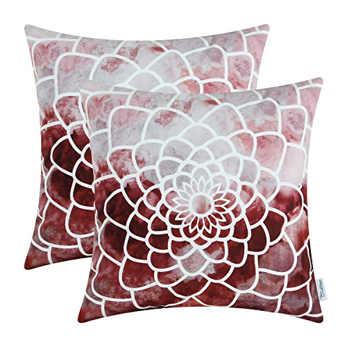 CaliTime Pack of 2 Cozy Fleece Throw Pillow Cases Covers for Couch Bed Sofa Manual Hand Painted Print Colorful Dahlia Compass 18 X 18 Inches Burgundy