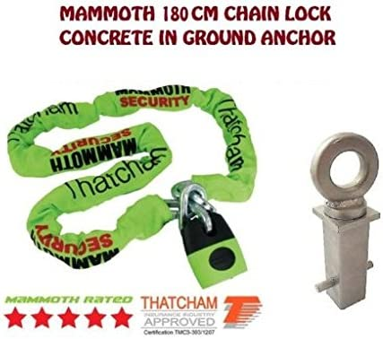 MOTORBIKE SECURITY MAMMOTH THATCHAM LOCM007 1.8M CHAIN LOCK AND HEAVY DUTY CONCRETE IN GROUND ANCHOR