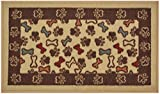 Pet Collection Bones and Paws Mat Doormat Beige Multi Color Slip Skid Resistant Rubber Backing (Beige, 17'' x 30'' Mat)