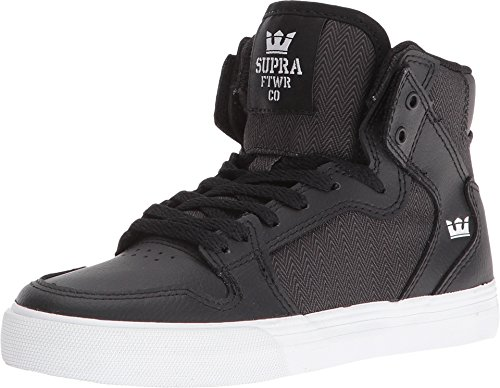 Supra Children (Youths) Vaider Black Herringbone White Skate Shoes aqXNtnxRj