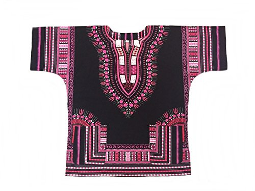 Amazon.com: Men Dashiki Shirt African Caftan Black and Pink 02 ...