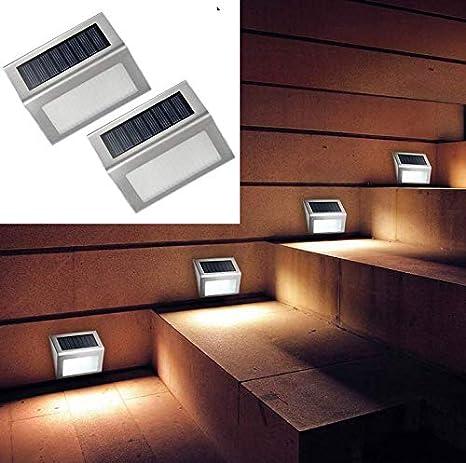 QMKJ Jardín Luz Solar Acero Inoxidable Escalera Solar de 3 LED Luz de Carga rápida Panel Solar Luz de Seguridad Impermeable al Aire Libre para la Cerca Patio de césped,silversteel: Amazon.es: Deportes