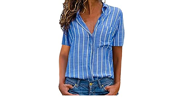 TANLANG Women Striped Lapel Work Blouse V Neckline Chiffon Loose Tunic Short Sleeve Tops Button Shirts Stretch with Pocket