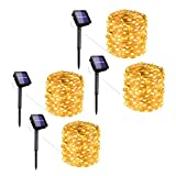 LITOM 100 LEDs 4 Pack Solar String Lights, 33ft Outdoor String Lights 8 Modes Waterproof Decorative Fairy Light for Patio Garden Gate Yard Party Wedding Christmas Thanksgiving Halloween Warm White