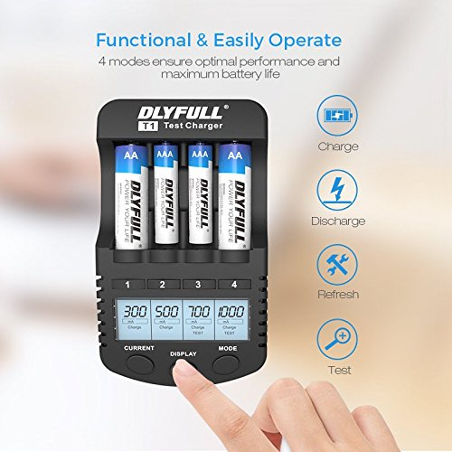 Dlyfull Smart AA and AAA Battery Charger with LCD Display, 4 Bays Speedy Charger with AC Wall Adapter for NiMH/NiCd Rechargeable Batteries