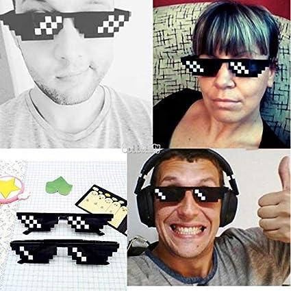 baskciry Men Women MLG Pixelated Sunglasses Thug Life Party Eyeglasses Mosaic Vintage Eye Wear