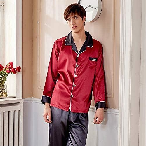 パジャマ CHJMJP シルクパジャマは男性春夏の新フェイクシルクパジャママンツートーンロングスリーブナイトウェアを設定します。 (Color : Red dark grey, Size : XXL)