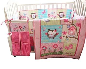 Amazon.com: NUEVO bebé niñas rosa búho 9pcs Cuna Juego de ...