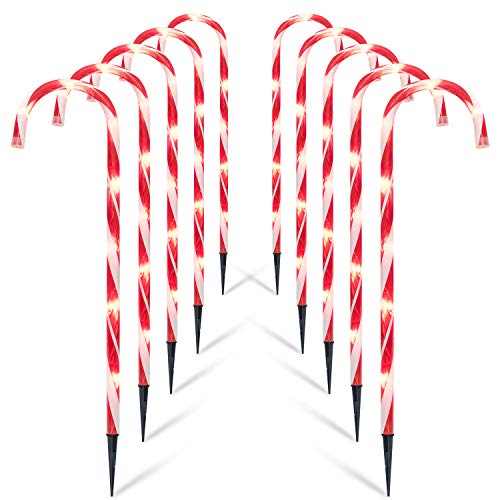 "Brightown Christmas Candy Cane Lights, 10 Pack 27"" Christmas Pathway Lights Markers- Candy Cane Outdoor Christmas Decorations Lights, UL Listed for Holiday Xmas Walkway Patio Garden"
