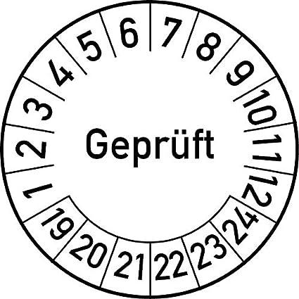 Pr/üfetikett Pr/üfsiegel Plakette 20 mm /Ø, Blau 100 St/ück Gepr/üft Pr/üfplakette in verschiedenen Farben und Gr/ö/ßen