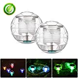 Winzwon Solar Floating Lights Pond Lights Pool Lights Color Changing Solar Light Floating Ball Lights Waterproof Transparent Plastic for Swimming Pool Pond Garden Home Wedding Party(2 Pack)