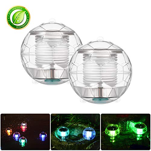 (Winzwon Solar Floating Lights Pond Lights Pool Lights Color Changing Solar Light Floating Ball Lights Waterproof Transparent Plastic for Swimming Pool Pond Garden Home Wedding Party(2 Pack))