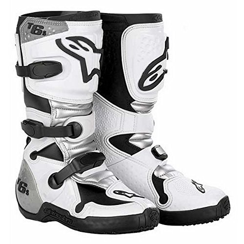 Silver Tech 8 Boots - Alpinestars Tech 6S Youth Boots , Size: 8, Distinct Name: White/Silver, Size Segment: Youth, Primary Color: White, Gender: Boys 201506298