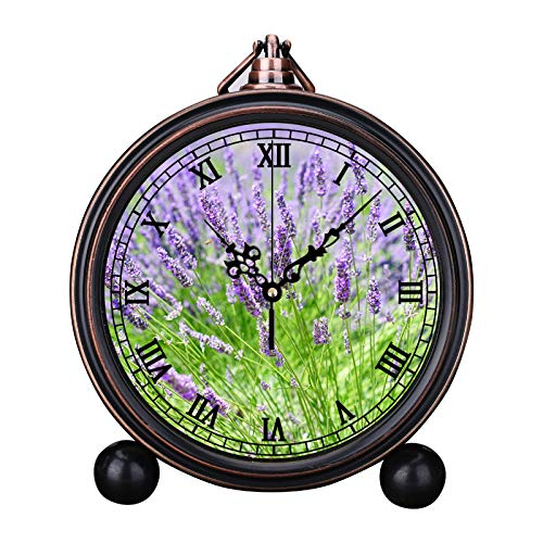 (European Retro Alarm Clock Round Silent Quartz Watch Simple Headboard Digital Alarm Clock Bell Alarm Clock Close up Photo of Lavender Growing on Field)