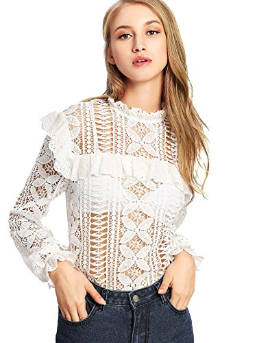 DIDK Women's Floral Lace Cut Out Frilled Detail Sheer Blouse White M