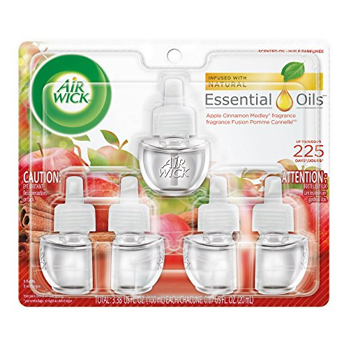 Air Wick plug in Scented Oil 5 Refills, Apple Cinnamon Medley, (5x0.67oz), Essential Oils, Air Freshener