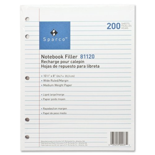 Wholesale CASE of 25 - Sparco 5-hole Punched Wide Ruled Filler Paper-Filler Paper,5-HP,Wide Ruled,10-1/2''x8'',200/PK,White by Spr